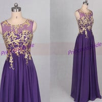 long purple prom dresses 2016, a-line o-neckline chiffon bridesmaid dress with lace appliques, golden lace women gowns for evening party.