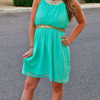 ALL THAT GLITTERS MINT CHIFFON DRESS
