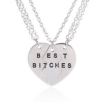 Lux Accessories Best Friends BFF Forever Best Bitches Valentine Heart Pendant Necklaces. (2 PC)