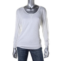 Bar III Womens Burnout Long Sleeves Pullover Top