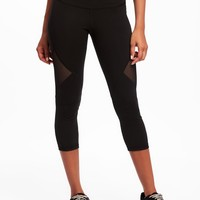 High-Rise Mesh-Panel Compression Crops for Women |old-navy