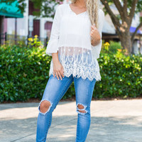 Lace Talks Top, White