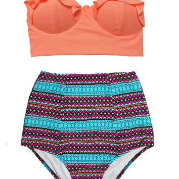 Old Rose Midkini Top and African Print Printed Highwaisted High Waisted Waist High-Waist Bikini set Swimsuit Swimwear Bathing suit suits S M
