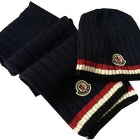 Fashion Casual Moncler Beanies Knit Winter Hat Cap Scarf Scarves Set Two-Piece G