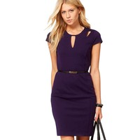Women Sexy Front Hollow Out Design Back Zipper Solid Slim Fitted Business Office Ladies Bodycon Pencil Summer Dresses  EG593