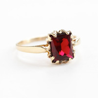 Vintage 10k Rose Gold Created Ruby Ring - Size 8 3/4 Red Gemstone 1950s Fine Mid-Century Jewelry