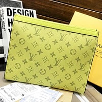 Inseva LV Louis Vuitton New fashion monogram leather couple cosmetic Bag handbag file package Yellow