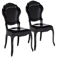 Venezia Opaque Black Accent Chair Set of 2 - #8M233 | LampsPlus.com