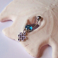 Belly Button Ring - Belly Button Jewelry - Tiny Celtic Knot Belly Ring - Choose Your Barbell Color