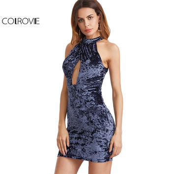COLROVIE Summer Velvet Dress Women Navy Cross Front Double Keyhole Halter Mini Dresses 2017 New Fashion Sexy Cut Bodycon Dress