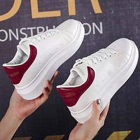 ALEXANDER MCQUEEN Hot Sale Woman Casual Sneakers Sport Shoes(Leather Tail) Burgundy