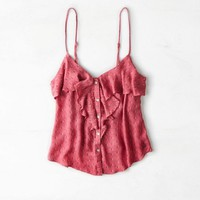 AEO Women's Ruffled Button Front Tank