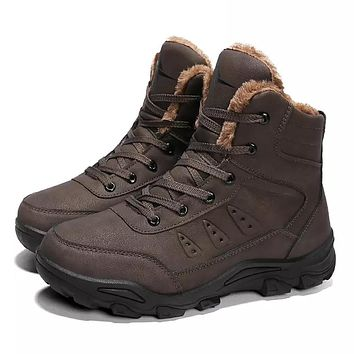 Men's Snow Boots Leather / PU(Polyurethane) Winter Casual Boots Non-slipping Mid-Calf Boots Black / Camel