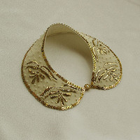 Gold Embroidered Collar Necklace, Vintage Style Hand Embroidered-18th century-TURKISH vintage embroidered art