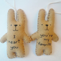 Christmas ornament set felt animal ornament decoration - funny bunny rabbit - You're my favorite and I heart you