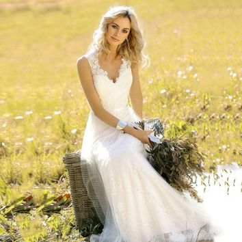 LORIE Vintage Wedding dress 2019 V Neck Lace Mermaid Wedding Gown White Ivory with sashes Cuatom Made Bridal Gown Free Shipping