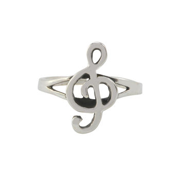 Sterling Silver Toe Ring Ornate Treble Clef Music Note Adjustable