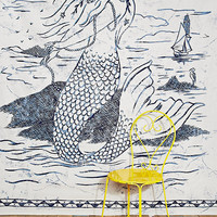 Mermaid Tapestry Throw in White - Urban Outfitters