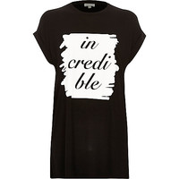 River Island Womens Black jersey incredible oversized t-shirt