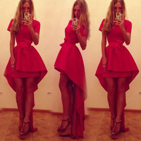 Sexy Women Red Short Sleeve Slim Fashion Bodycon Party Cocktail Evening Dress