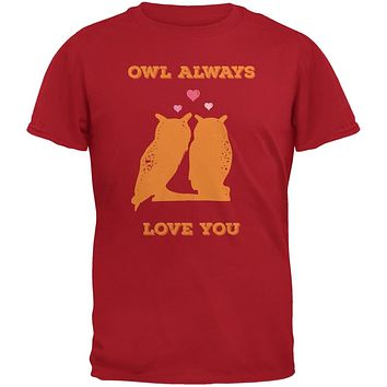 Valentine's Day - Paws - Owl Always Love You Red Adult T-Shirt