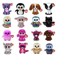 "Ty Beanie Boos Plush Toy Doll Owl Panther Penguin Dog Giraffe Cat Raccoon Sheep Bat Cattle Plush Animal With Tag 6"" 15cm"