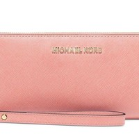 Michael Kors Jet Set Travel Leather Continental Wrislet Pale Pink Retail $168