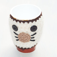 Kitty Cat Cosy Cup Can Warmer  Holder  Uk Stocking Filler