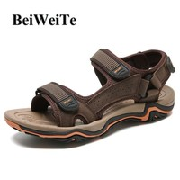 Autumn Hiking Men Open-Toe Sandals Camping Fishing Male Beach Shoes Breathable Genuine Leather Light Walking Outdoor Sport Shoes