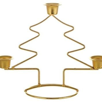 Christmas Tree Taper Metal Candle Holder - Gold - 48 Units