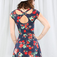 Back X-Line Flower Print Flare Dress