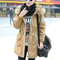 Fur Collar Hood with Adjustable Waist Tie Padded Long Coat