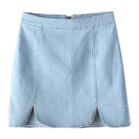 Zip Back Denim Mini Skirt