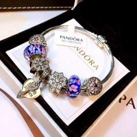 Pandora Women Fashion Crystal Plated Bracelet Jewelry 925 Sterling Silver Inspirationa Blue