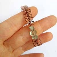 Copper wire and Flourite bracelet - Flourite bracelet Flourite jewelry Copper wire jewelry Copper bangle Unique jewelry Gift for her