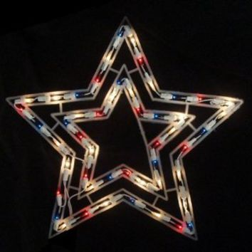 """17"""" Lighted Twinkling Red, White and Blue Patriotic 4th of July Star Window Silhouette Decoration"""