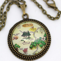 Hundred Acre Wood Map 'Pooh Bear's House, Piglet's House & Rabbit's House' Necklace