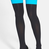 Women's Pretty Polly Opaque Top Over The Knee Socks - Black