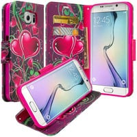 Samsung Galaxy S7 Wallet Case, Wrist Strap Pu Leather Magnetic Flip Fold[Kickstand] with ID & Card Slots for Galaxy S7 - Heart Sensation