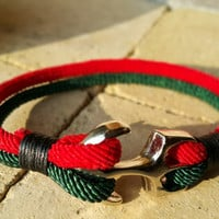 FREE SHIPPING-Mens, Woman Bracelet,Nautical Anchor Jewelry, Red and Dark Green Silk Ropes, Unisex