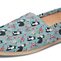 Black & White Cat Flower Casual Shoes