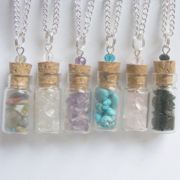 Crystal pendant, Crystal necklace, Crystal jewelry, Healing crystals, Reiki Necklace, Quartz, Amethyst Turquoise Rose quartz Healing stones