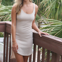 Chasing Sunsets Taupe Knit Scoop Neck Tank Dress With Slip