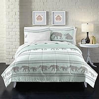 Boho Elephant Ultra Soft Microfiber Comforter Set, Queen, Light Blue