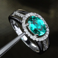 Oval Emerald Engagement Ring Pave Diamond Wedding 14k White Gold 6x8mm