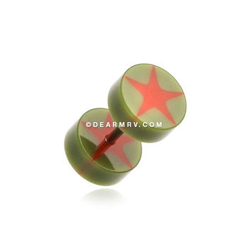 A Pair of Psych Star UV Acrylic Fake Gauge Plug Earring (Olive)