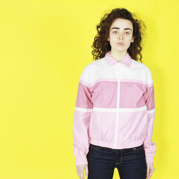 80s pastel PINK track jacket LIGHTWEIGHT zip up minimalist color SMALL sm s