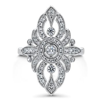 Sterling Silver CZ Art Deco Milgrain Statement RingBe the first to write a reviewSKU# r1170-01