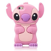 W-RainBow Cute Disney 3d Stitch Pattern With Movable Ear Silicone Soft Case for Apple Iphone 5/5s Pink