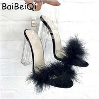 Women Sandals Summer Ladies Sexy PVC Transparent Strappy Sandals Clear Chunky heels Fashion Fur High Heels Party Wedding Shoes